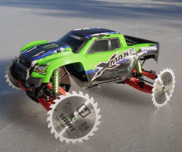 RC Car with Sawblade Wheels