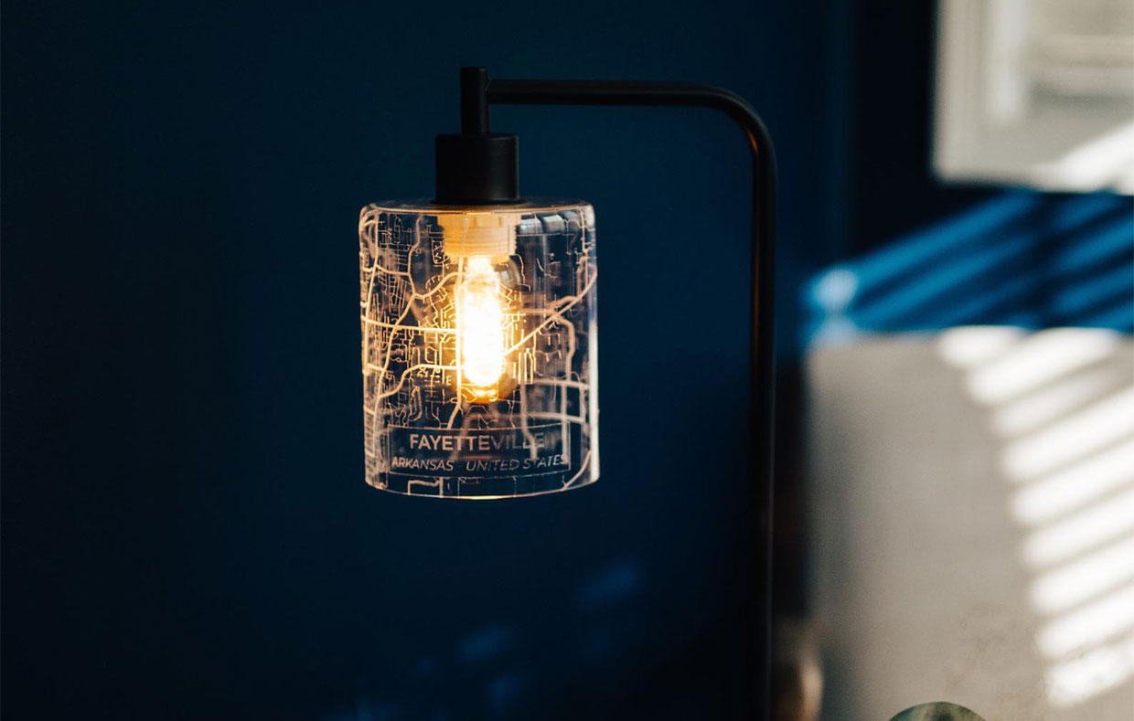 Map on Glass Lamps