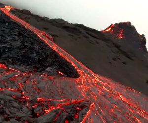 Drone Flies Over an Active Volcano