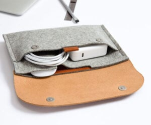 Wool Felt + Leather Cable Organizer