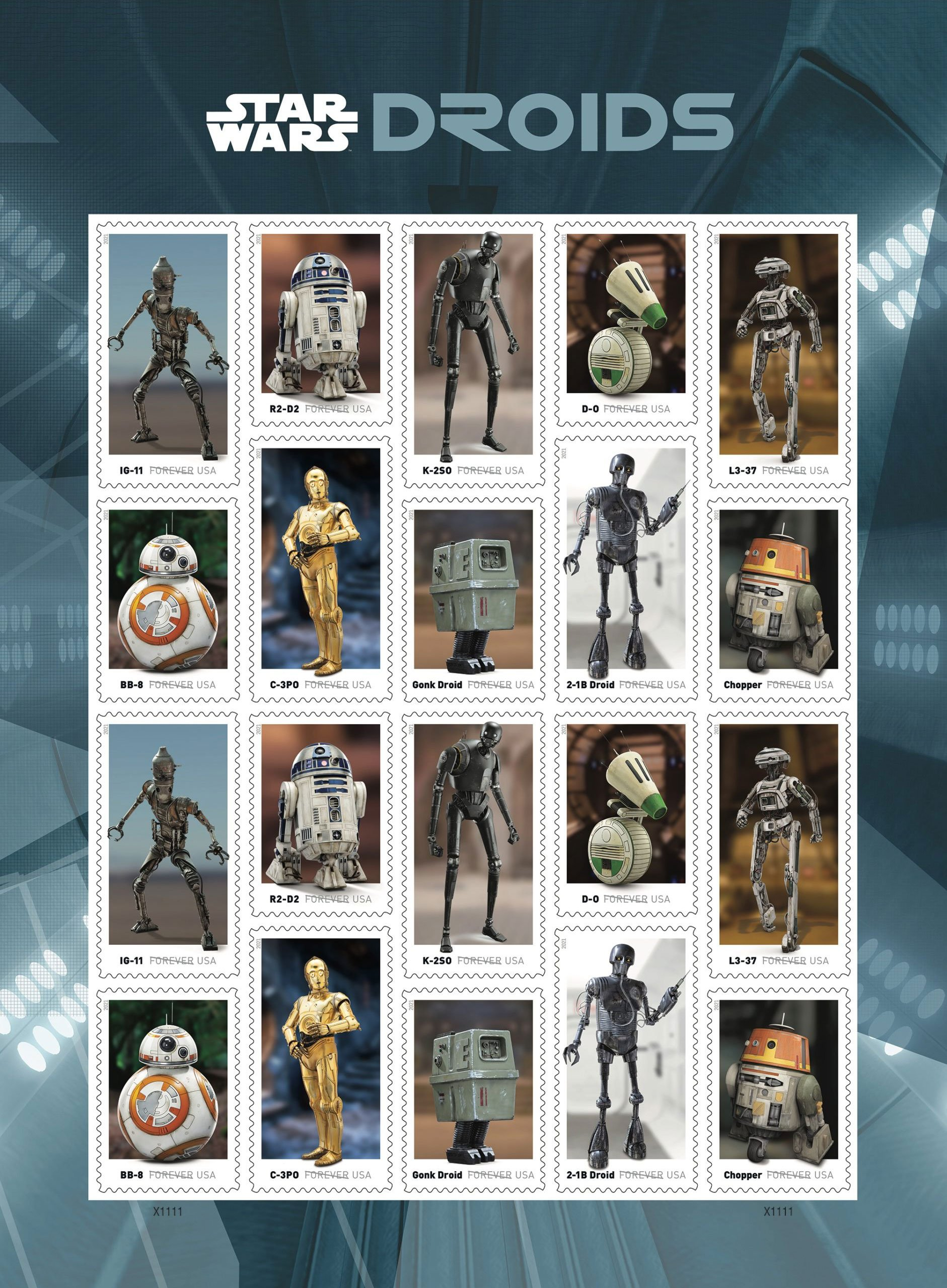 Star Wars Droids Postage Stamps