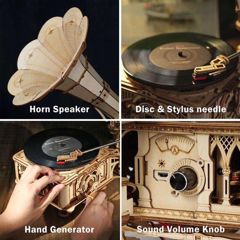 ROKR Wooden Gramophone Kit