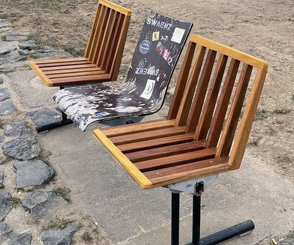Fixing a Public Park Bench with Trash