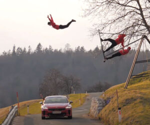 Jumping Over a Road on an Russian Swing