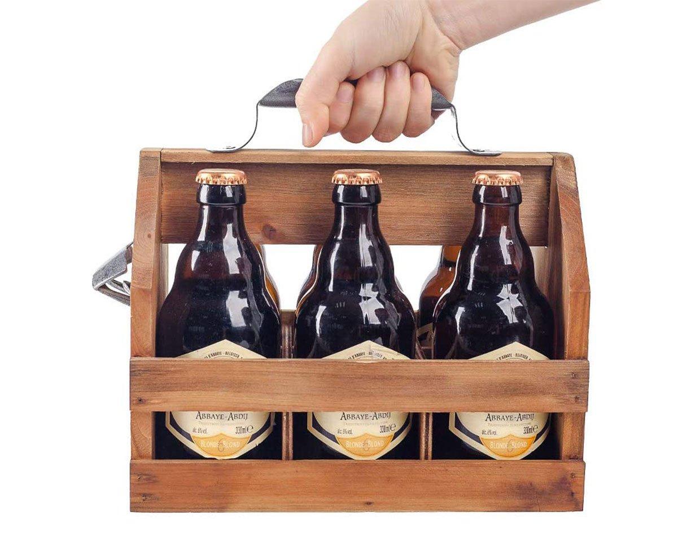 Wood Beer Bottle Caddy