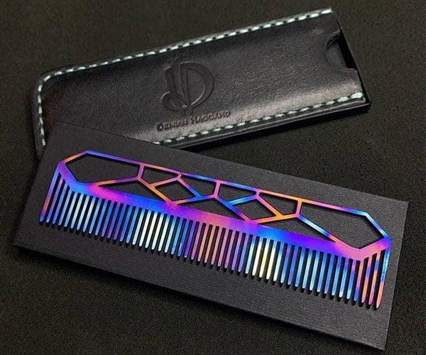 Oxidized Titanium Beard Comb