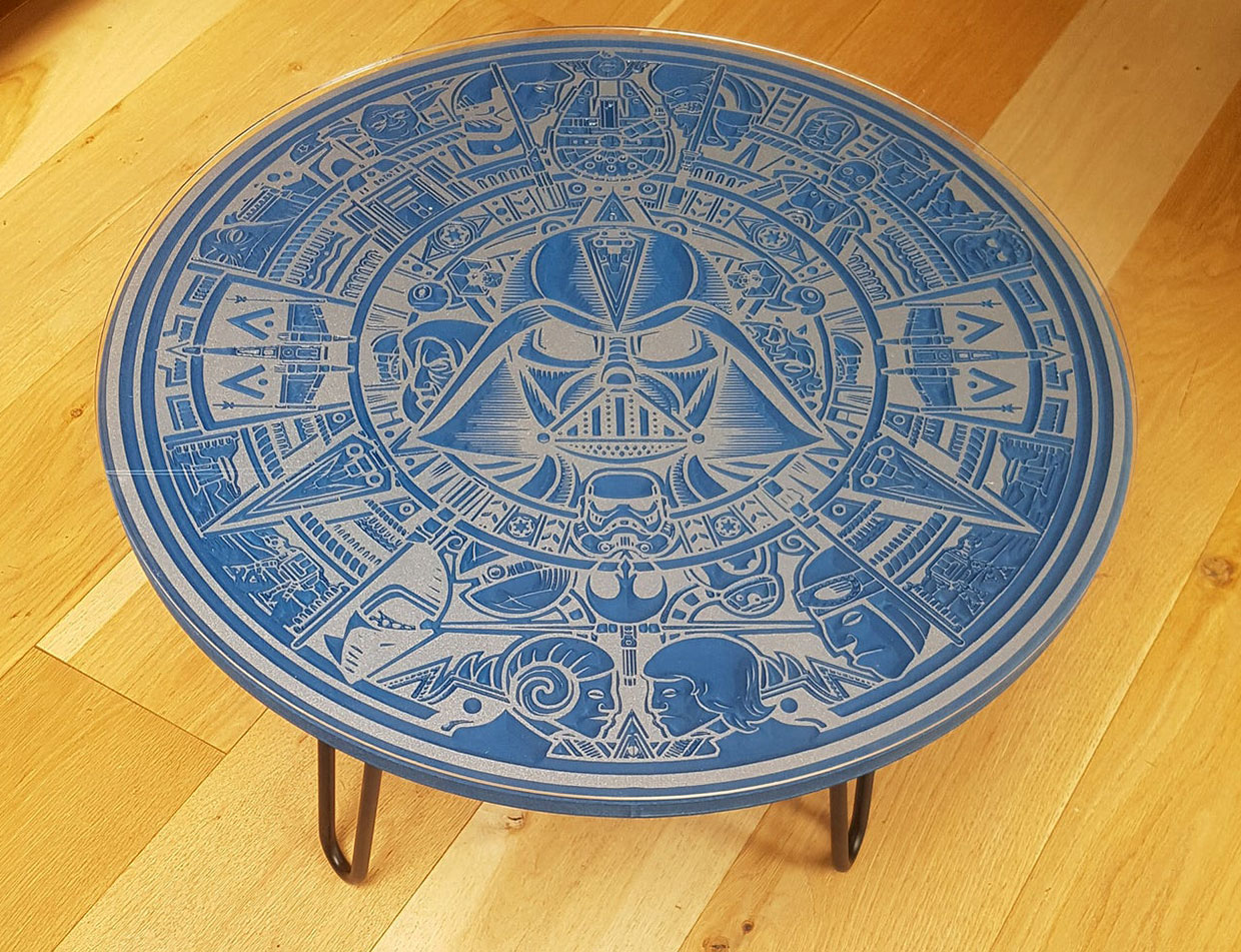 Star Wars Carved Wood Table