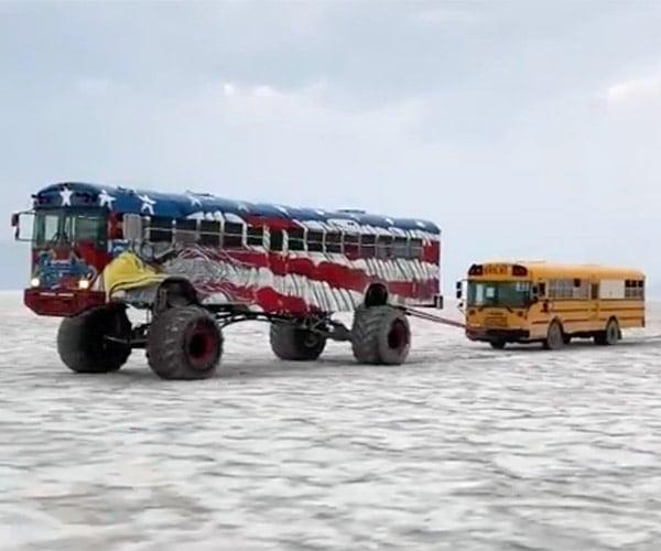 Big Bus Tows Little Bus