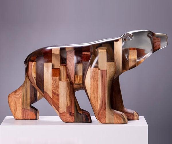 Carving a Wood + Resin Bear Sculpture