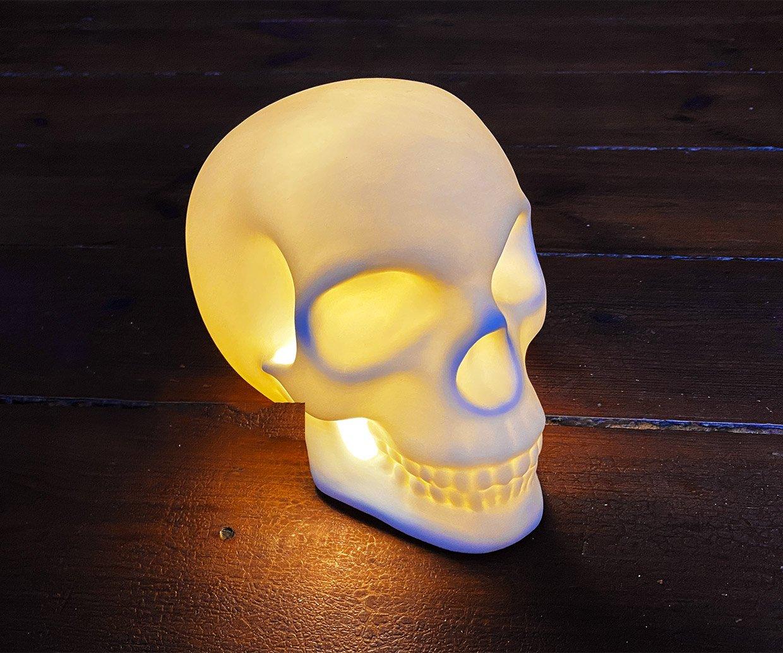 Ceramic Skull Lamp