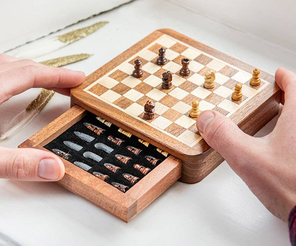 Mini Wood Travel Chess Set
