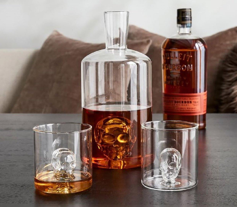Glass Skull Liquor Decanter