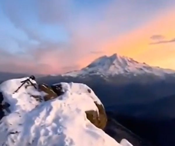 Stepping Out Onto Mt. Rainier