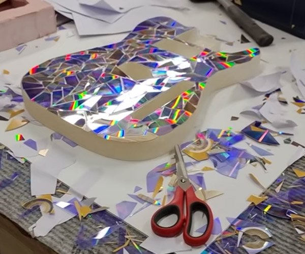 Making a Rainbow Guitar from CDs and DVDs