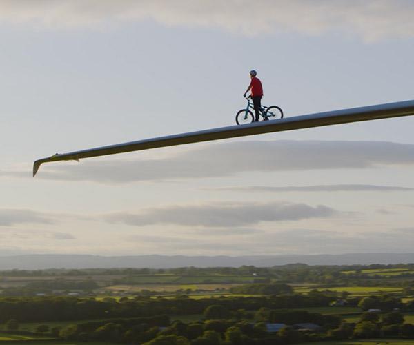 Danny MacAskill Rides a Wind Turbine Blade